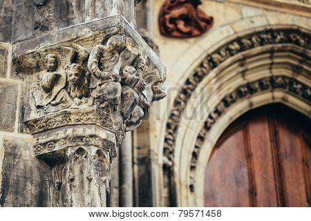 Bas-relief On Church Of Our Lady Before Tyn In Prague, Czech Rep