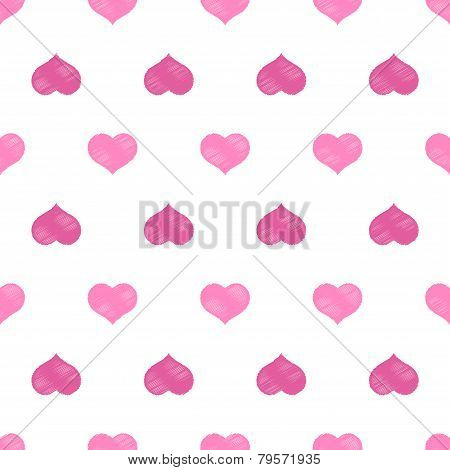 Pink white hearts Valentine's day seamless pattern