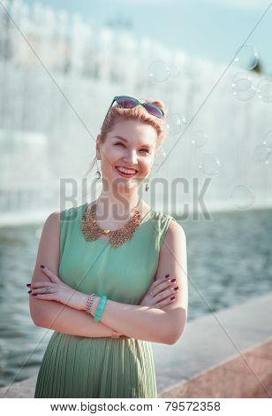 Happy Beautiful Girl With Braces In Vintage Clothing Outdoor