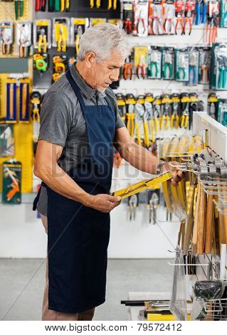 Side view of senior salesperson working in hardware store