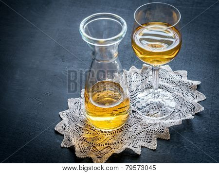 Glass Of White Wine In Vintage Decor