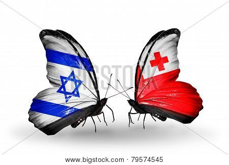 Two Butterflies With Flags On Wings As Symbol Of Relations Israel And  Tonga