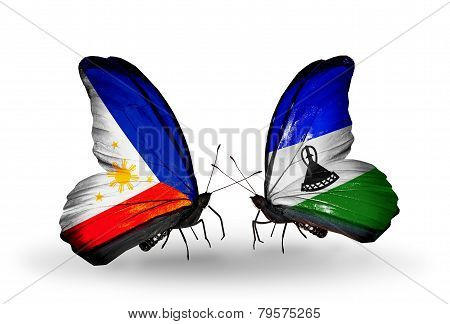 Two Butterflies With Flags On Wings As Symbol Of Relations Philippines And  Lesotho