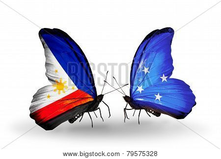 Two Butterflies With Flags On Wings As Symbol Of Relations Philippines And Micronesia
