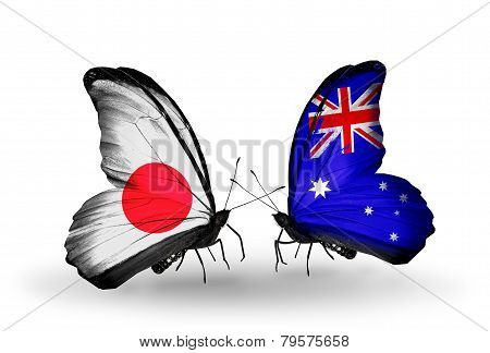 Two Butterflies With Flags On Wings As Symbol Of Relations Japan And  Australia