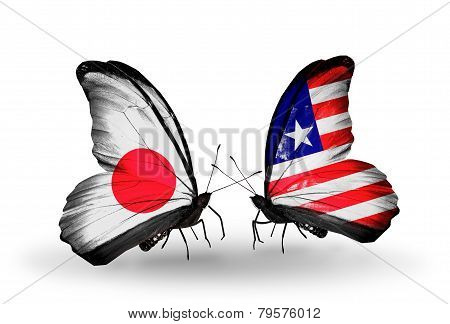 Two Butterflies With Flags On Wings As Symbol Of Relations Japan And Liberia