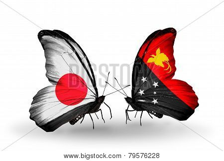 Two Butterflies With Flags On Wings As Symbol Of Relations Japan And Papua New Guinea