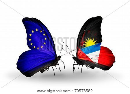 Two Butterflies With Flags On Wings As Symbol Of Relations Eu And Antigua And Barbuda