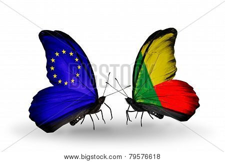 Two Butterflies With Flags On Wings As Symbol Of Relations Eu And Benin