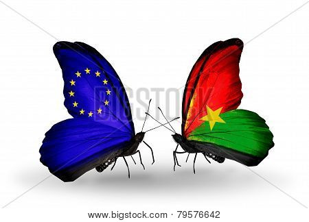 Two Butterflies With Flags On Wings As Symbol Of Relations Eu And Burkina Faso