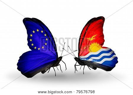 Two Butterflies With Flags On Wings As Symbol Of Relations Eu And Kiribati