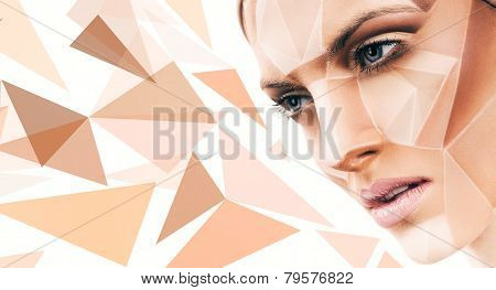 Sensual Woman With Geometrical Bodyart And Pattern