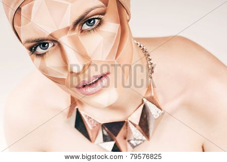 Sensual Woman With Geometrical Bodyart On Face