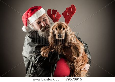 Badass Santa With Dog