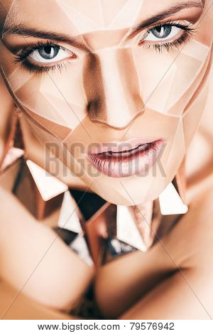 Sexy Woman With Geometrical Bodyart On Face