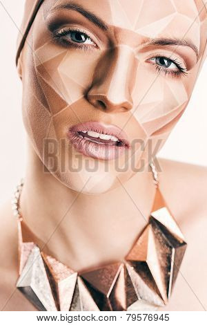 Sexy Woman With Geometrical Bodyart