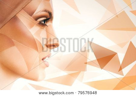 Woman With Bodyart On Face And Geometric Pattern Around