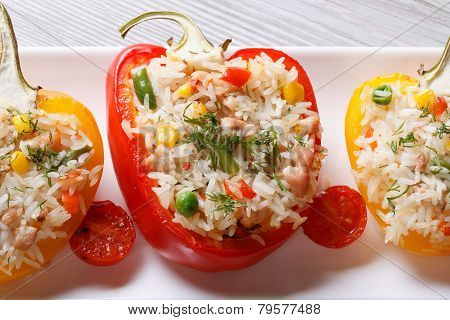 Baked Peppers Stuffed With Rice, Vegetables And Meat Top View