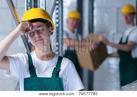 Tired Female Plant Worker