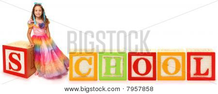 Alphabet Blocks School With Girl