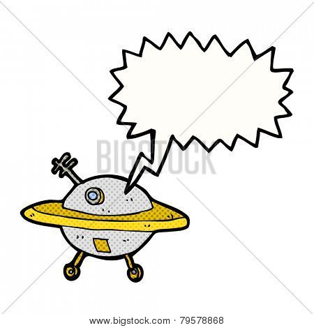 cartoon flying saucer with speech bubble