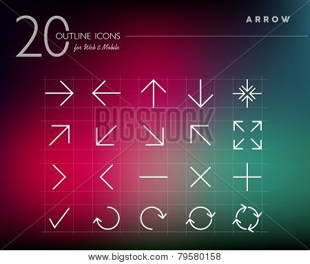 Outline Style Arrows Icons Set