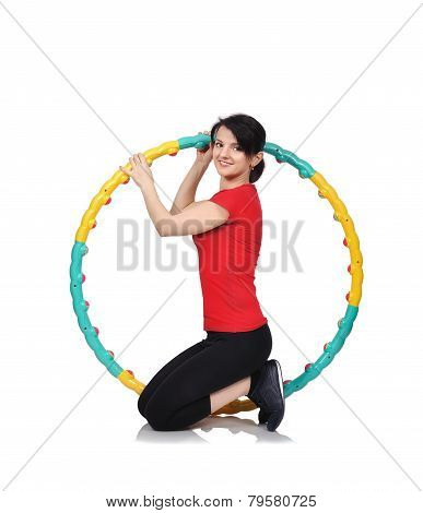 Woman Sitting With Hula Hoop