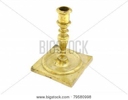 Old bronze candlestick holder on white background