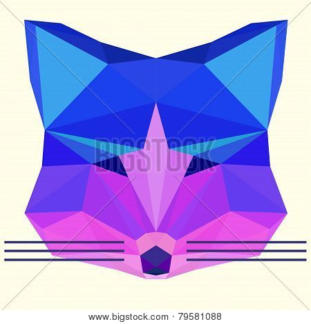 Bright Colored Polygonal Fox Head
