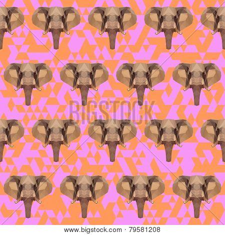 Abstract Geometric Polygonal Elephant Seamless Pattern Background