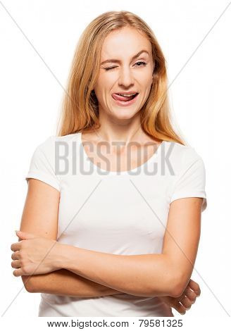 Winking woman. Hamming happy female isolated on white