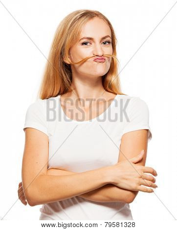 Hamming smiling woman. Grimace female on white