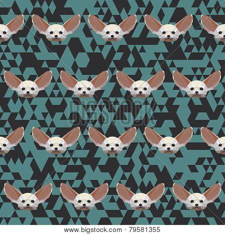 Polygonal Geometric Triangle Abstract Fennec Fox Seamless Pattern