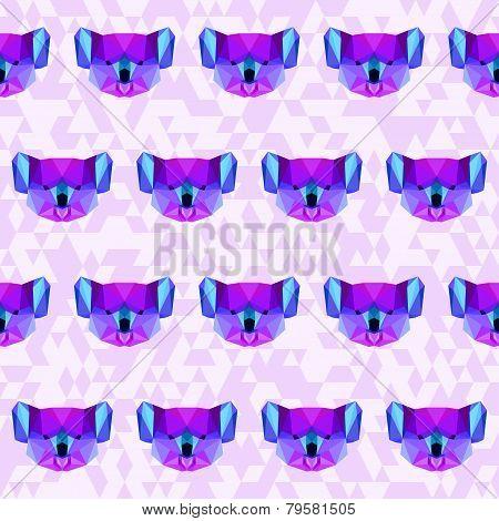 Bright Abstract Geometric Polygonal Koala Seamless Pattern