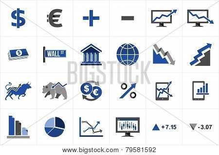 Stock Market Finance Icon Set