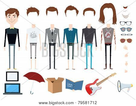 Set of vector character with different hair styles, objects and outfits