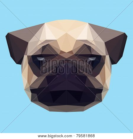 Abstract Geometric Polygonal Pug Background