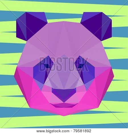 Bright colored Polygonal Geometric Triangle Abstract Panda Background