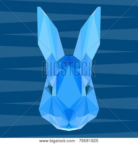 Blue colored Polygonal Geometric Triangle Abstract Rabbit Background