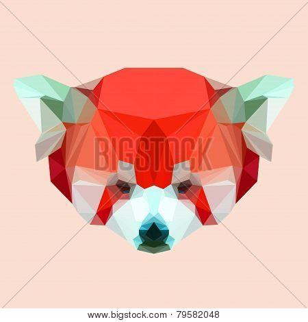 Abstract Geometric Polygonal Red Panda