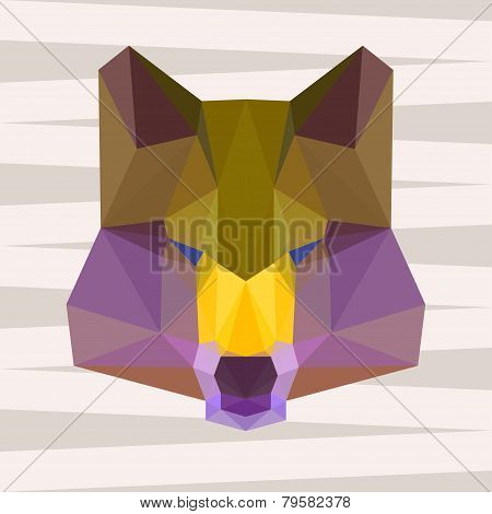 Polygonal Geometric Triangle Abstract Wolf