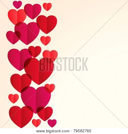 St. Valentine's Day background with red hearts