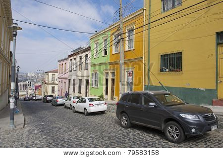 Colorful building in the historical part of Valparaiso, Chile.