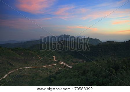 Land Scape Beautiful Sky And Mountain Scene On Dusky Time Of Thailand - Myanmar Border