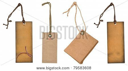 grungy aged paper tags with metal rivets and simple traditional