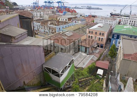 Old funicular cabins move in Valparaiso, Chile.