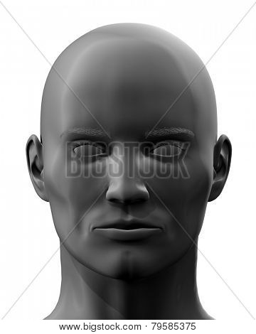 Black 3D en face head isolated on white background.