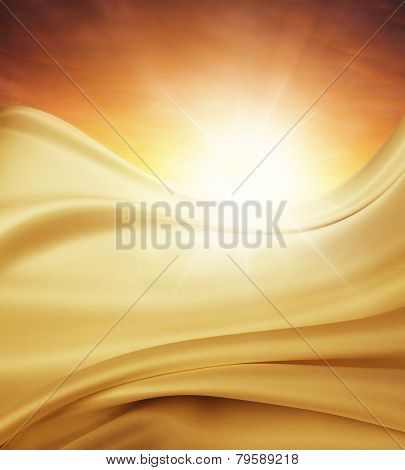 Silky fabric in front of bright sky