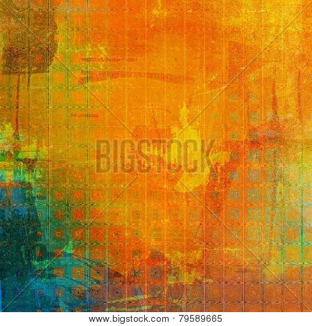 Abstract blank grunge background, old texture with stains and different color patterns: green; brown; blue; red (orange); yellow (beige)