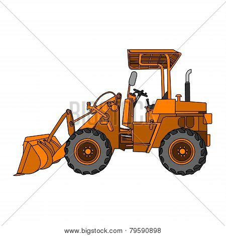 Yellow Wheeled Tractor Vector.